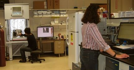 Two researchers working in the CLSF lab.